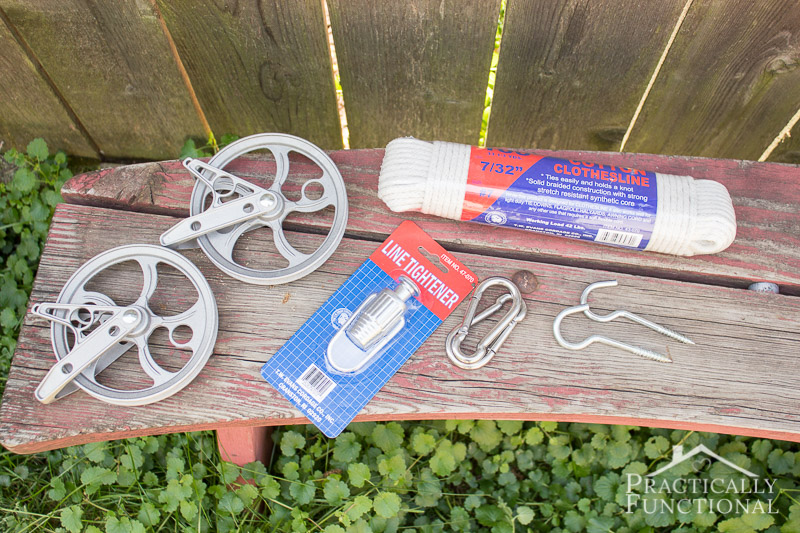 Supplies needed to make a DIY pulley clothesline with line tightener