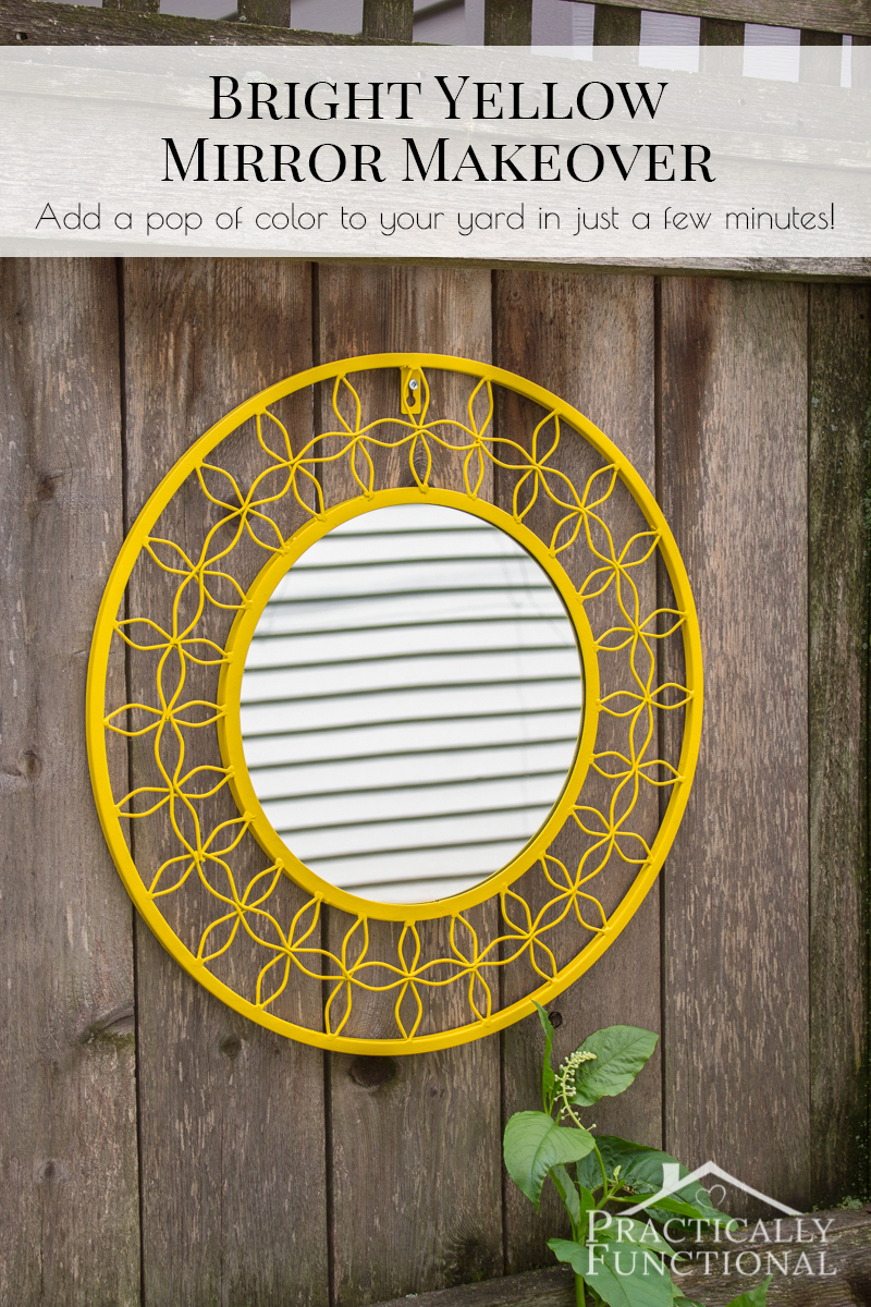 Spray paint a mirror to bring a fun pop of color to your yard!