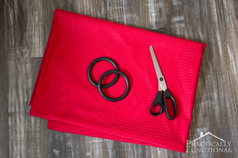 All you need to make a DIY water ring sling is athletic fabric and rings!