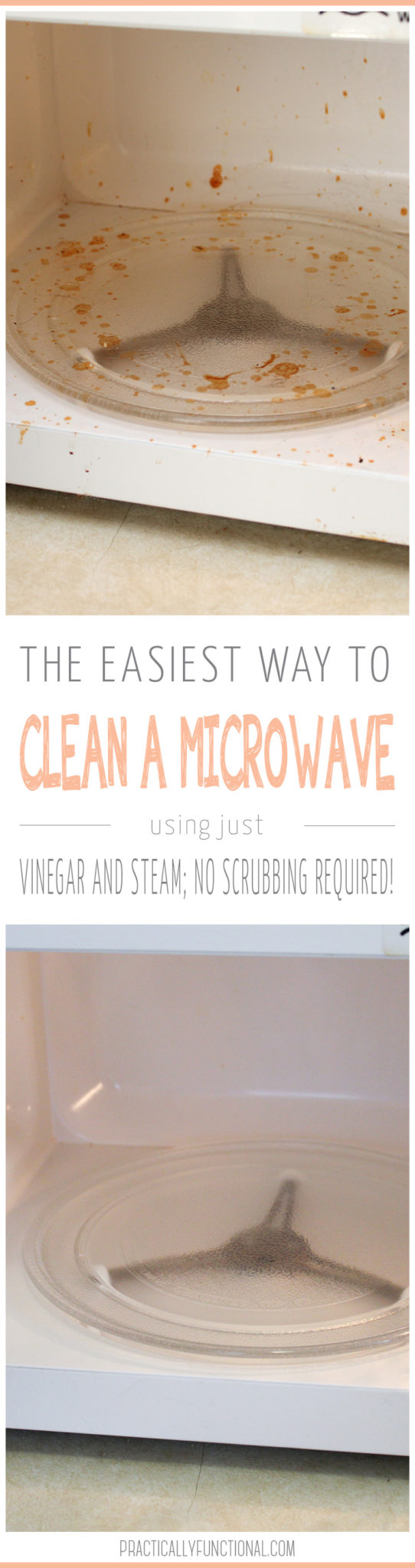 Clean a microwave in minutes! All you need is vinegar and water, no scrubbing required!