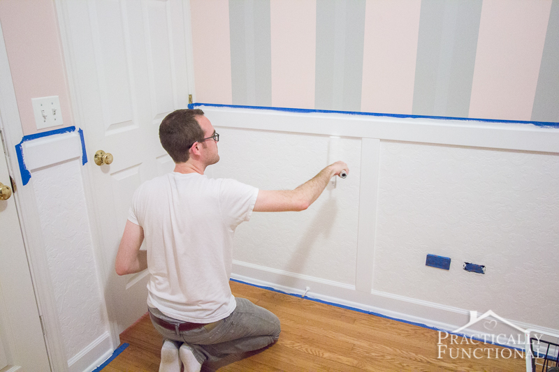 Diy Wainscoting With Textured Wallpaper