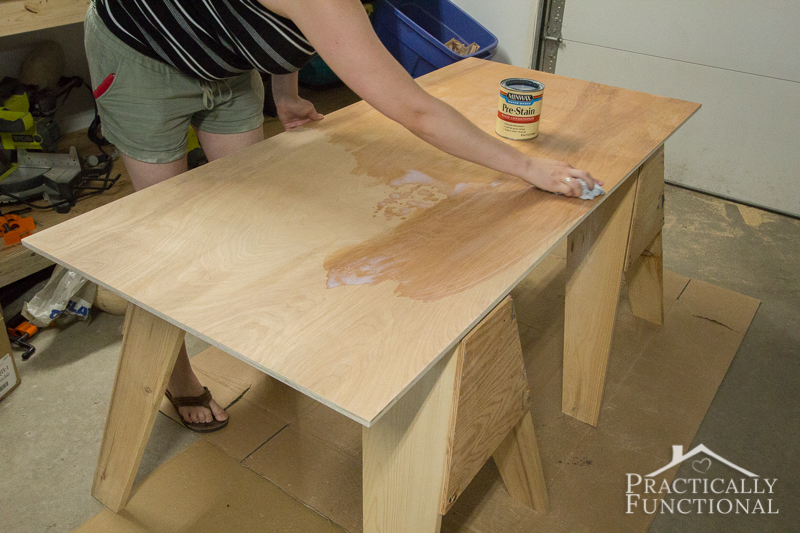Simple DIY Laundry Basket Dresser pre condition the wood for the top piece