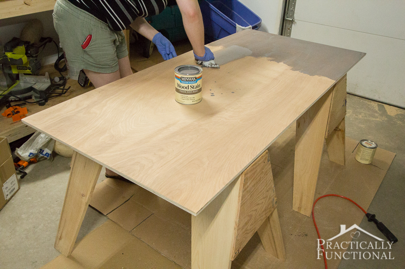 Simple DIY Laundry Basket Dresser stain the top piece