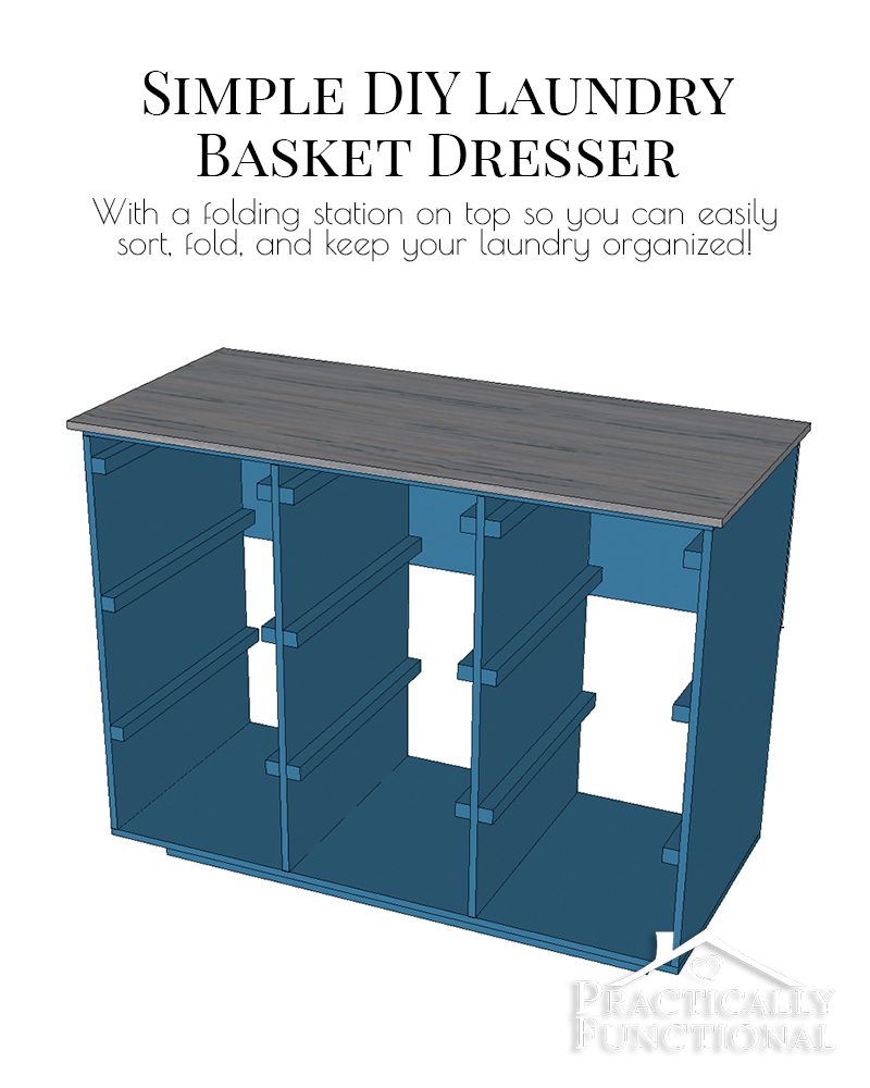 This simple DIY laundry basket dresser holds 9 laundry baskets and has a smooth, sealed top piece so you can use it as a folding and sorting station!