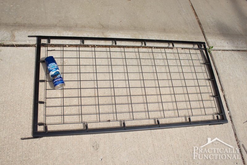 Transform an old crib spring into a functional laundry room accessory with a coat of spray paint!