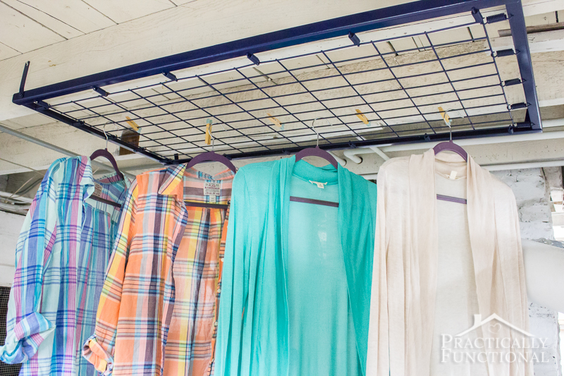 Turn a crib spring into a laundry room drying rack!