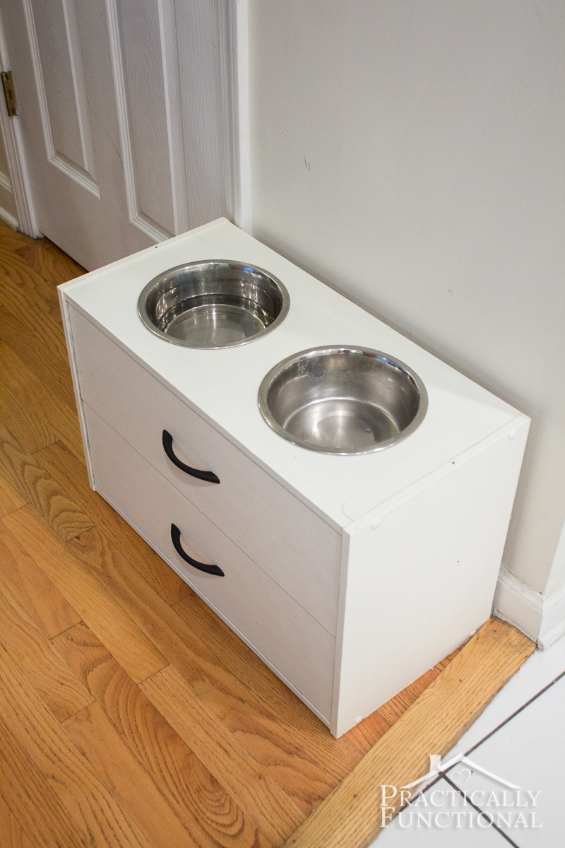 Turn A Small Dresser Into A Raised Dog Bowl Stand In Just A Few Minutes!