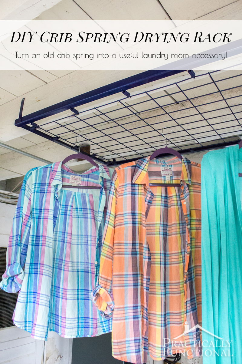 What a great idea! Turn an old crib spring into a drying rack for your laundry room!