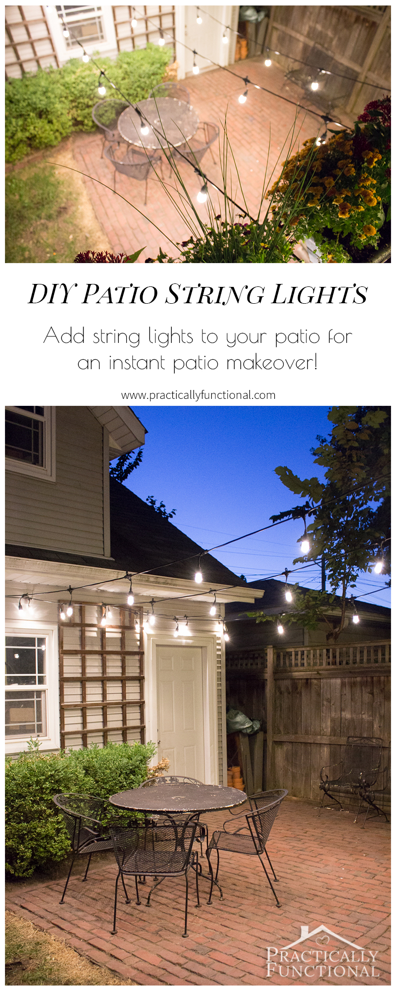 Add string lights to your patio for a quick, gorgeous, and functional patio makeover!
