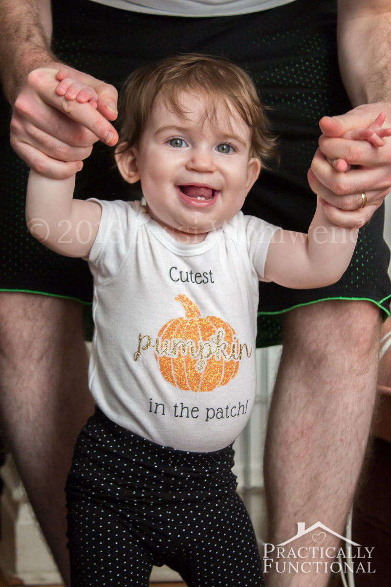 This adorable Cutest Pumpkin In The Patch onesie is perfect for fall! Learn how to make your own or buy one from her Etsy shop!