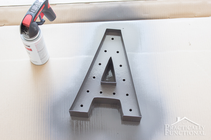 DIY marquee letter - applied a coat of spray paint