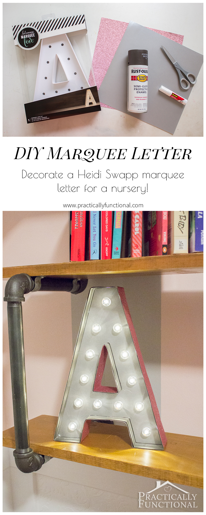 Make a super cute DIY marquee letter in minutes! Start with a Heidi Swapp marquee letter, add spray paint and scrapbook paper, and you're done!