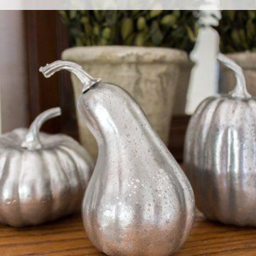 DIY Faux Mercury Glass Pumpkins (with foam pumpkins!)