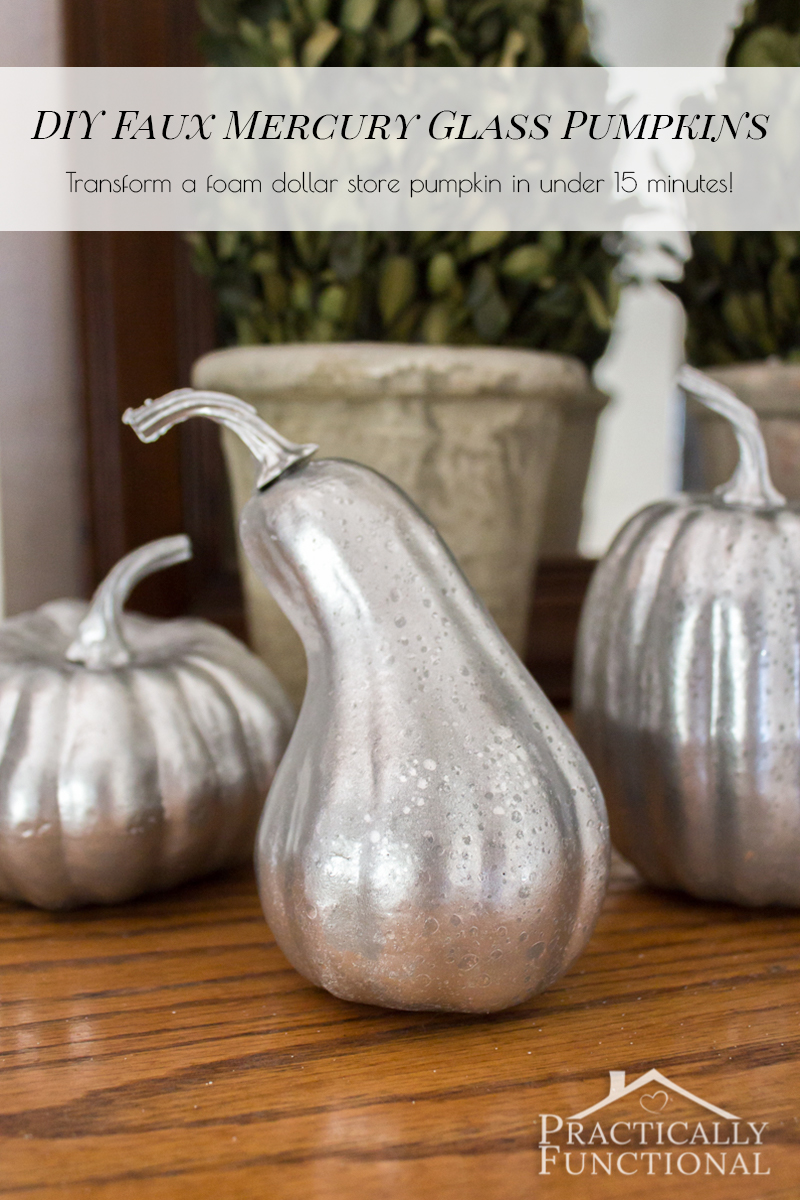 diy faux mercury glass pumpkins with foam pumpkins. Black Bedroom Furniture Sets. Home Design Ideas