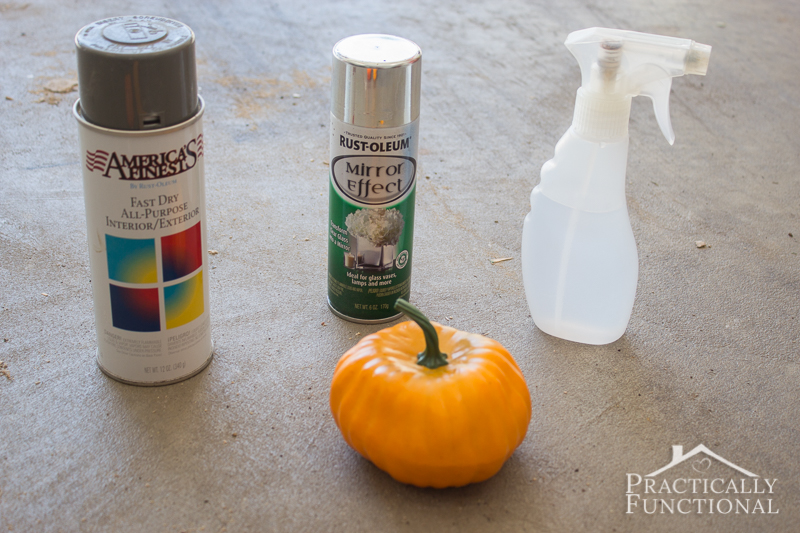 Turn a foam dollar store pumpkin into a faux mercury glass pumpkin with spray paint and water and vinegar