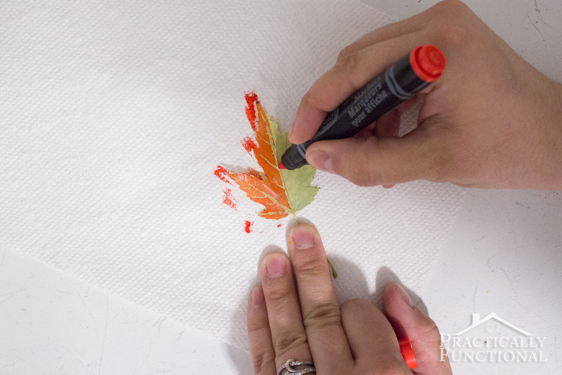 Color the back of a real leaf using a marker to make a stamp
