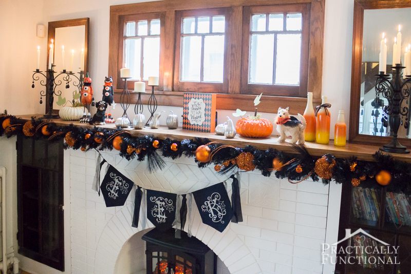 DIY Festive Halloween Mantel 2