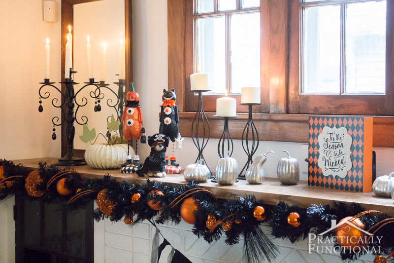 diy festive halloween mantel 3 - Halloween Mantle