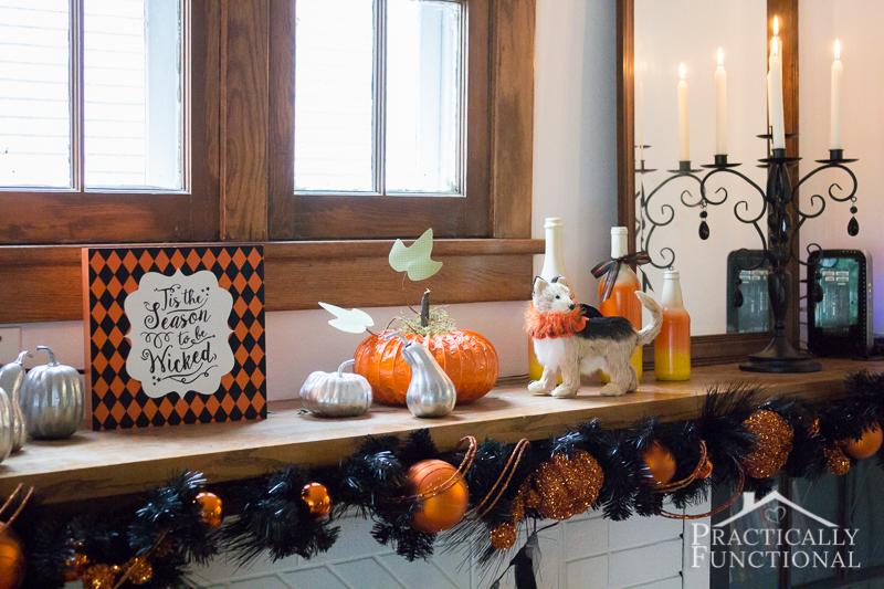 DIY Festive Halloween Mantel 4
