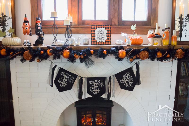 DIY Festive Halloween Mantel 6