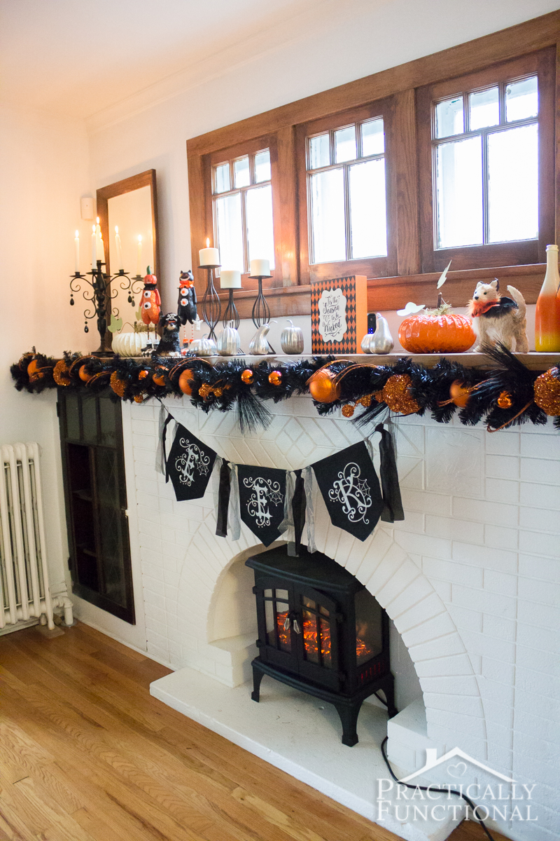 Fun and festive Halloween mantel