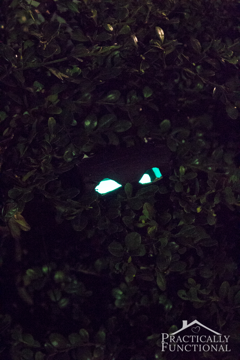 DIY Glow Stick Eyes - make these spooky glowing eyes in just a few minutes!