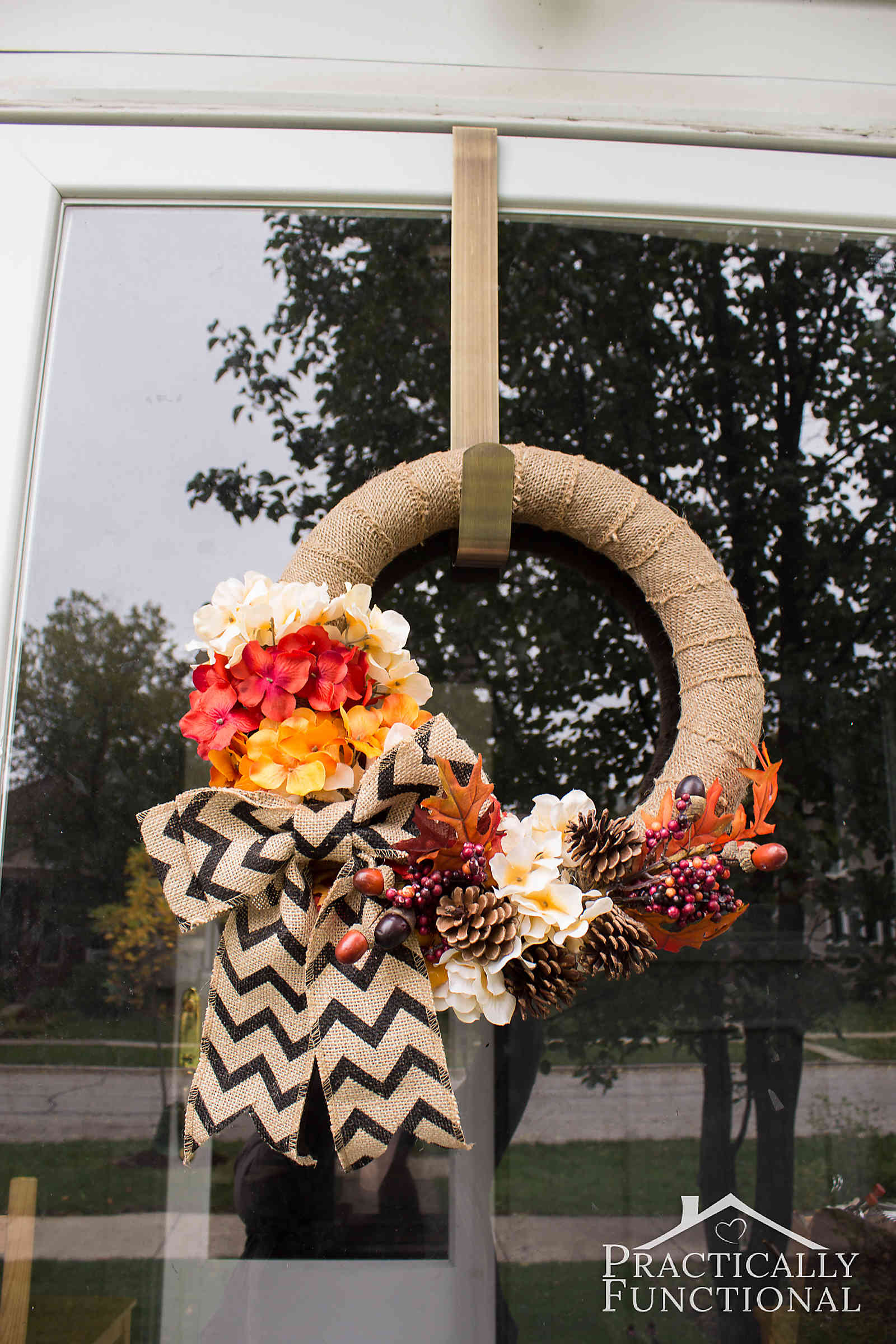 Simple Diy Burlap Wreath With Fall Flowers