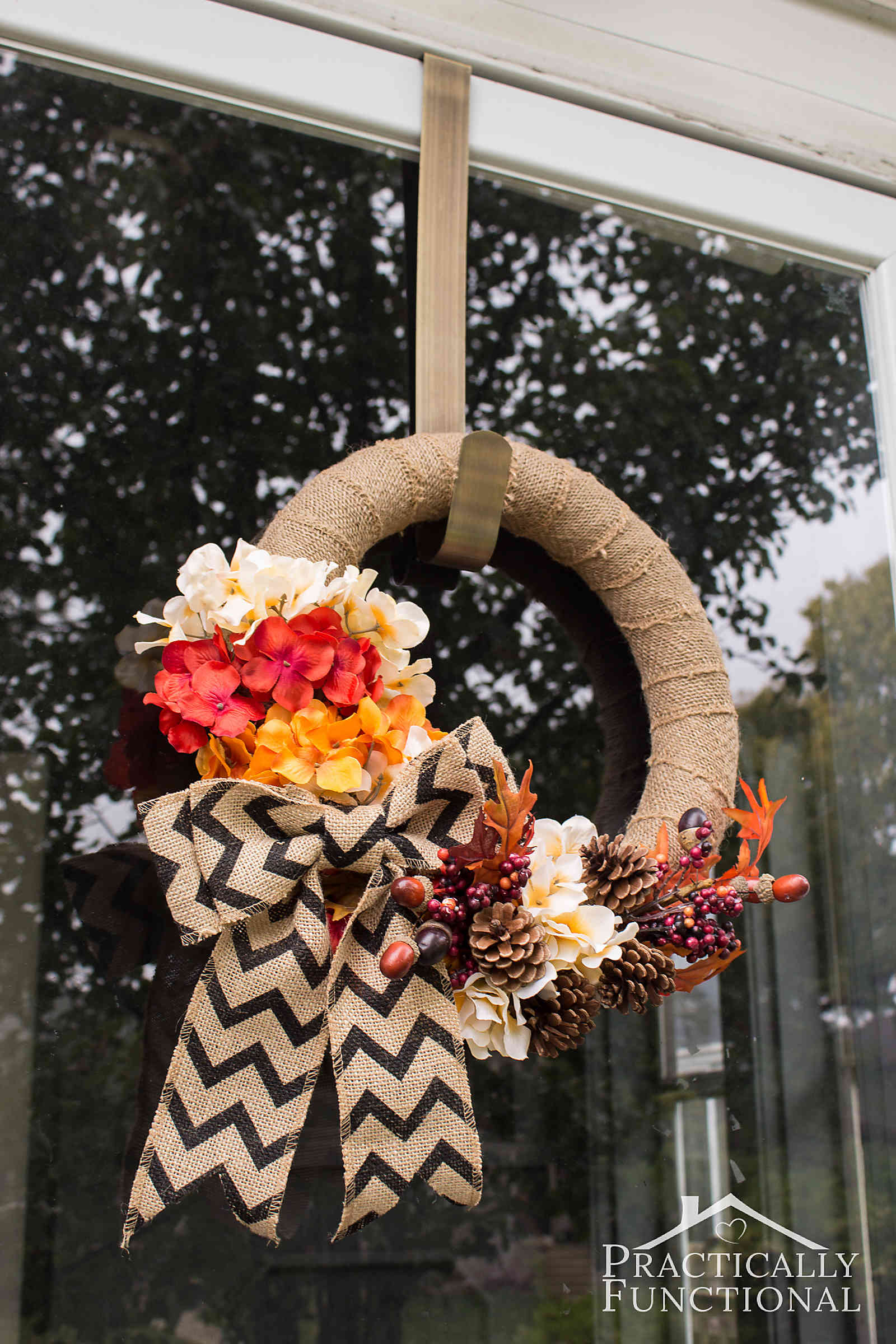 Simple Diy Burlap Wreath With Fall Flowers Practically Functional