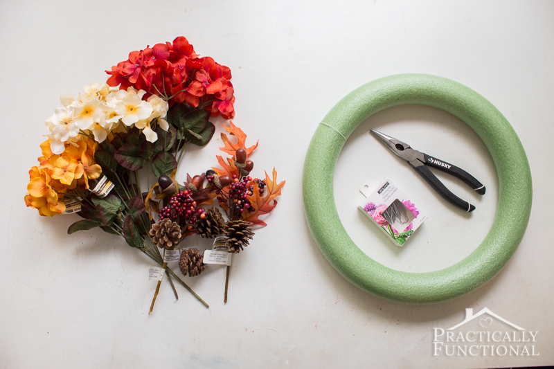 Simple DIY Burlap And Flowers Wreath For Fall Practically Functional