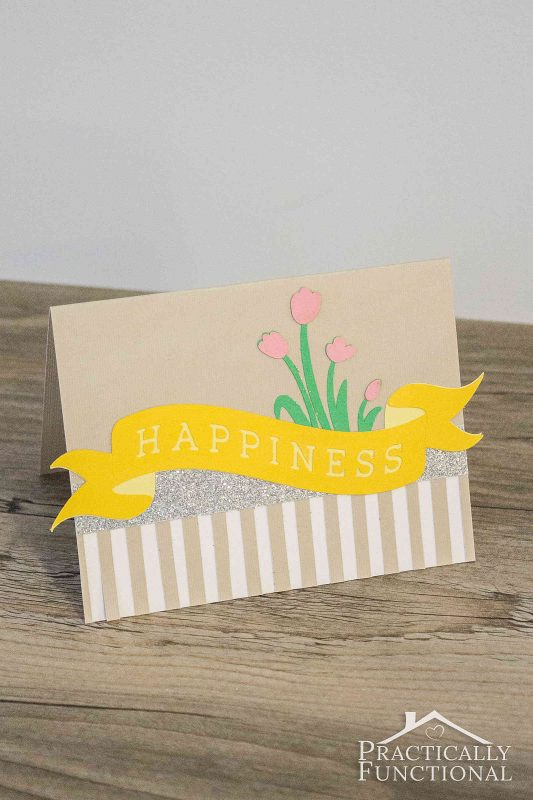 Make a simple Happiness card in just minutes with a Cricut cutting machine! All you have to do is cut and assemble!