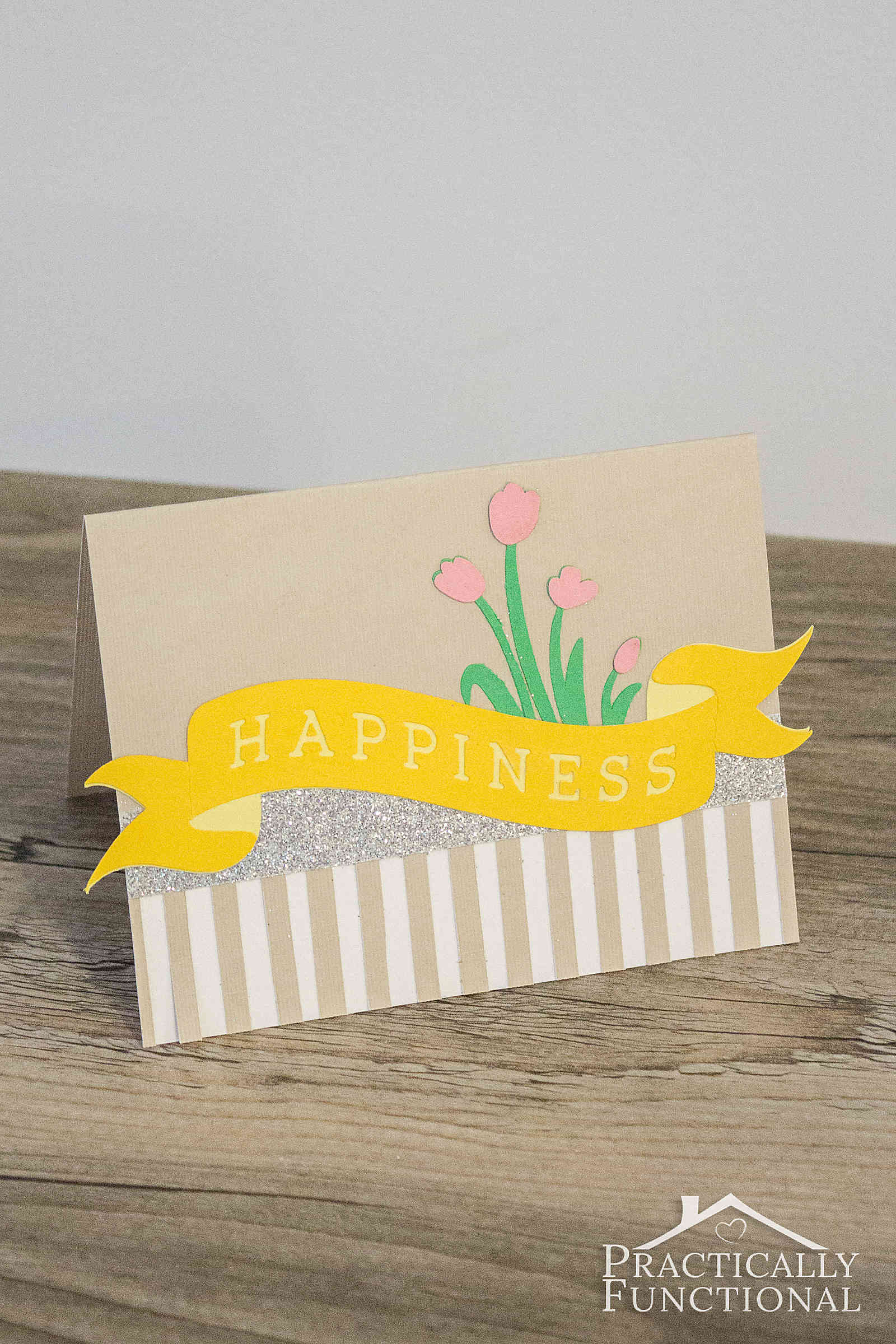 Make a simple Happiness card in just twenty minutes with a Cricut cutting machine!