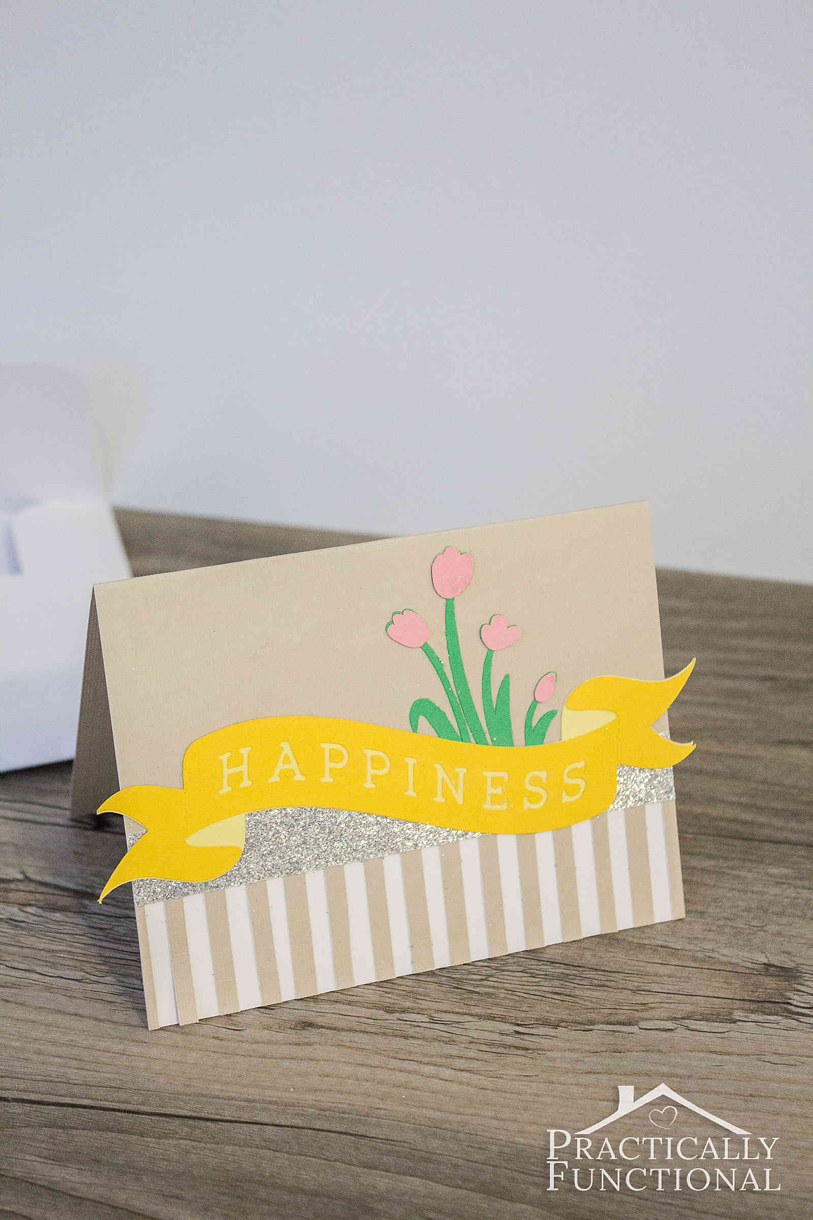 Make a cute Happiness card in under 20 minutes with a Cricut cutting machine!