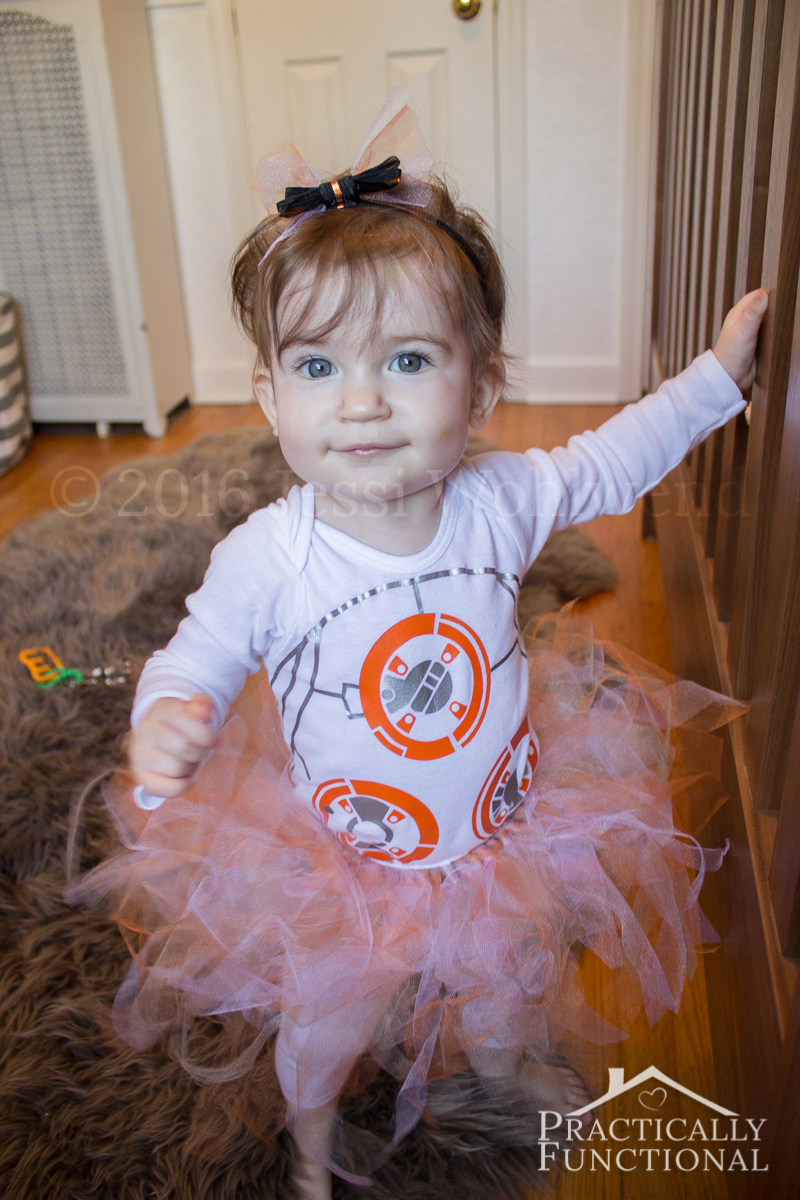 Super cute BB8 costume! Make your own with a plain onesie and a simple no-sew tutu!