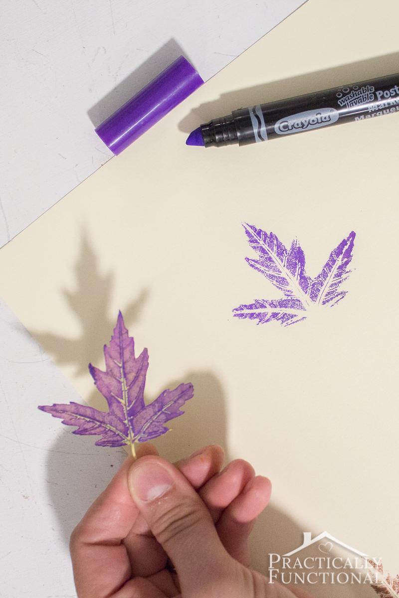 Use markers to stamp with real leaves this fall!