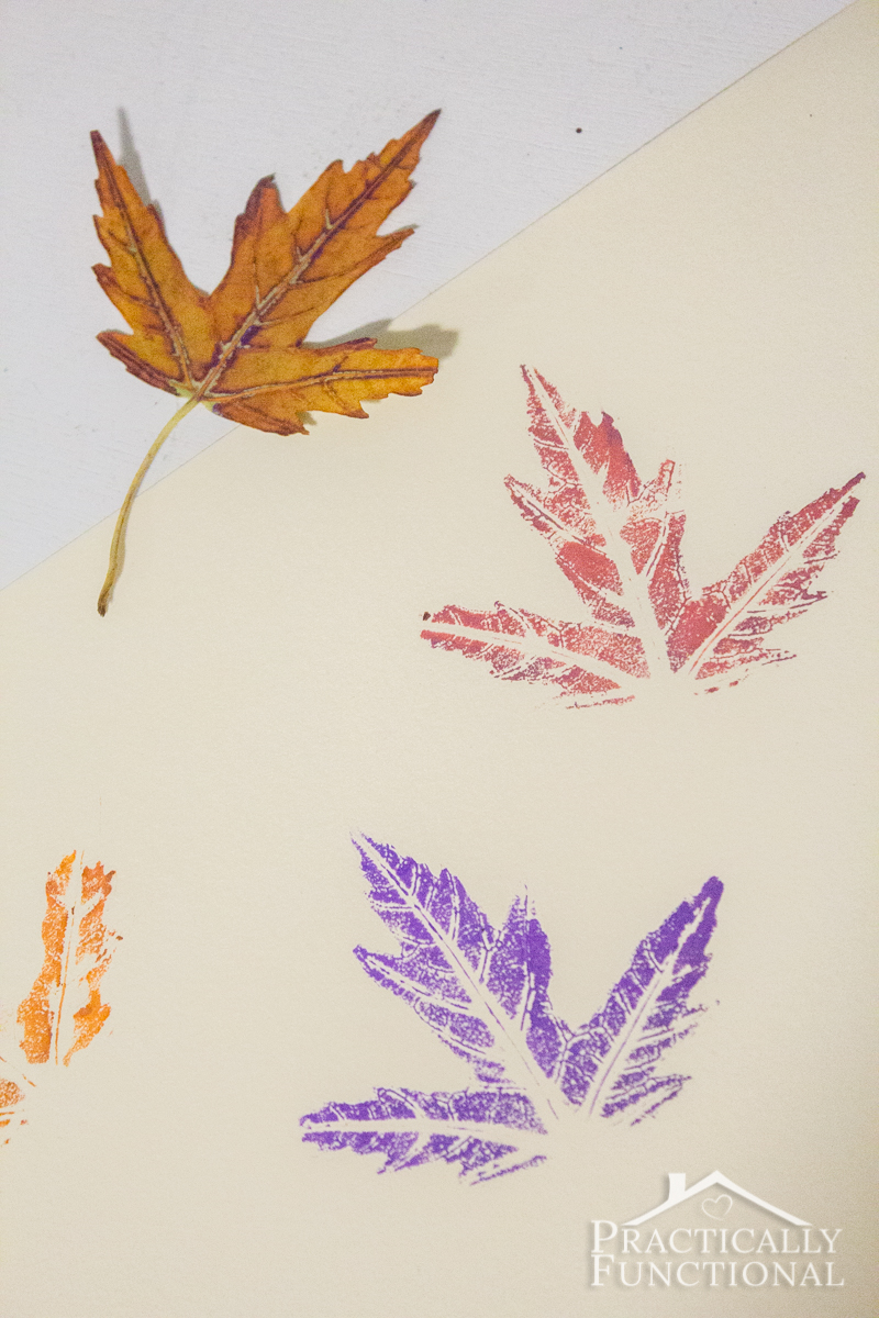 Use markers to stamp with real leaves, way less messy than using paint and you can see a lot more detail!