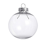 Clear round shatterproof ornament - 67mm ball - 12 pack