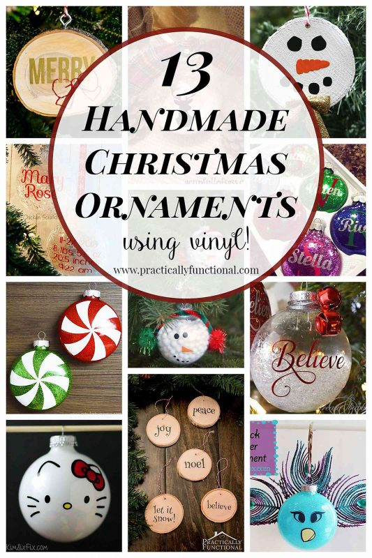 13 handmade Christmas ornaments using vinyl - so simple to make with a Silhouette or Cricut cutting machine!