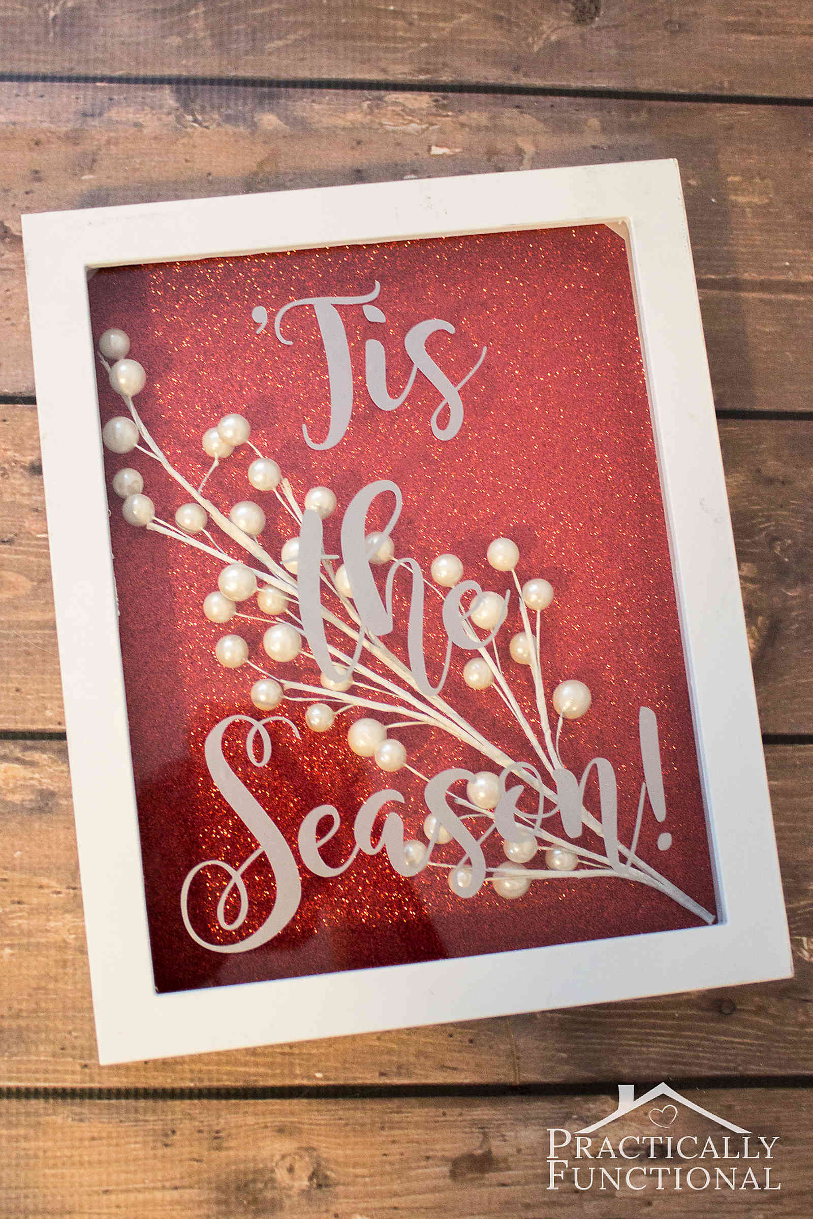 Gorgeous DIY 'Tis the season shadowbox! Great tutorial on how to customize your own shadowbox in under 15 minutes!