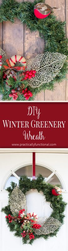 This simple DIY winter greenery wreath is a great way to brighten up your front door for winter!