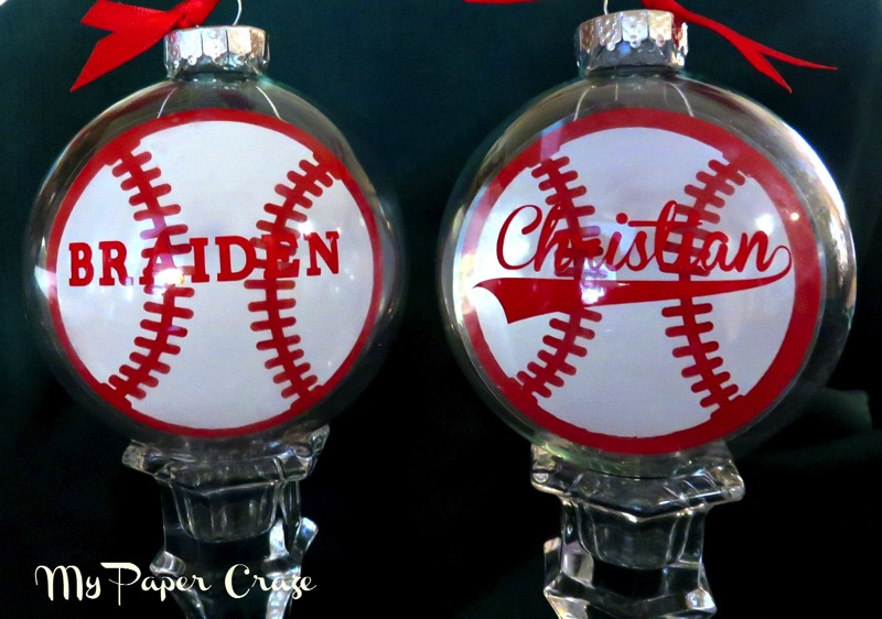 Floating Ornaments Baseball Design - and 12 other handmade Christmas ornaments using vinyl!