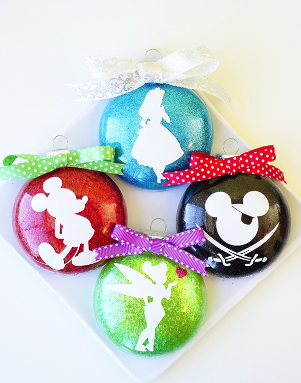 Glitter Silhouette Disney Christmas Ornaments - and 12 other handmade Christmas ornaments using vinyl!