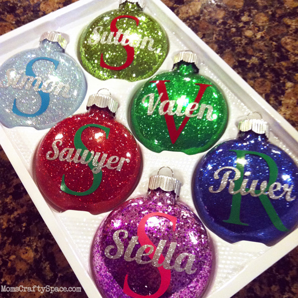 Personalized Glitter Ornaments - and 12 other handmade Christmas ornaments using vinyl!