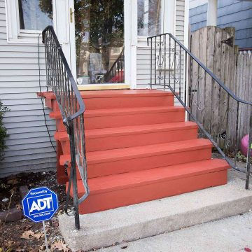 Our front steps needed a makeover, so we redid them. Goodbye cracked and peeling paint, hello gorgeous red stain!