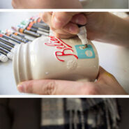 Make a cute DIY painted mug for the holidays with paint pens and adhesive stencils in less than 10 minutes! Great neighbor gifts!