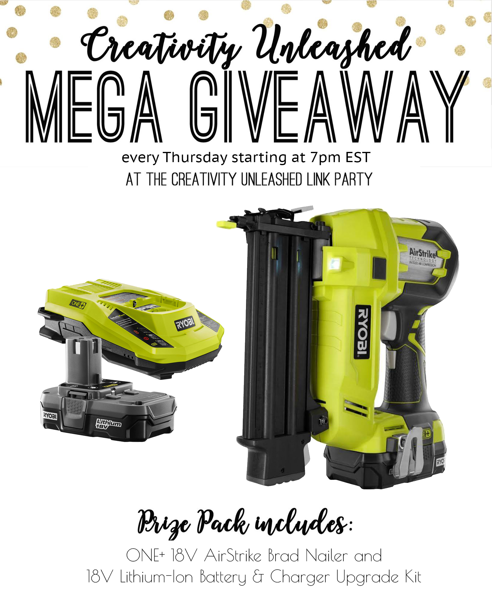 Share your latest projects, browse hundreds of others for inspiration, and enter to win a ONE+ AirStrike 18-gauge cordless brad nailer and charger kit at the Creativity Unleashed party every Thursday night!