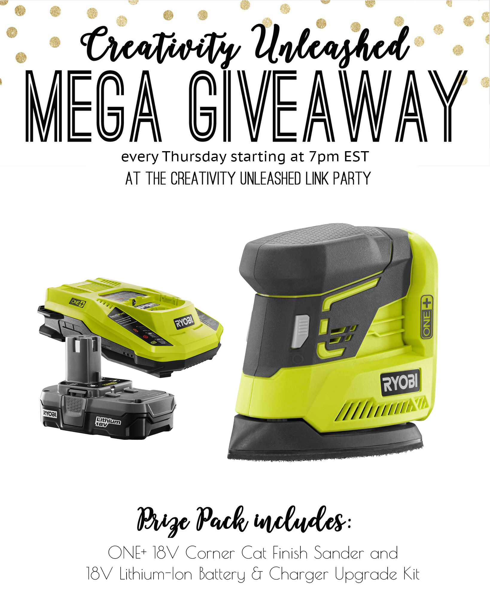 Share your latest projects, browse hundreds of others for inspiration, and enter to win a Ryobi sander at the Creativity Unleashed party!