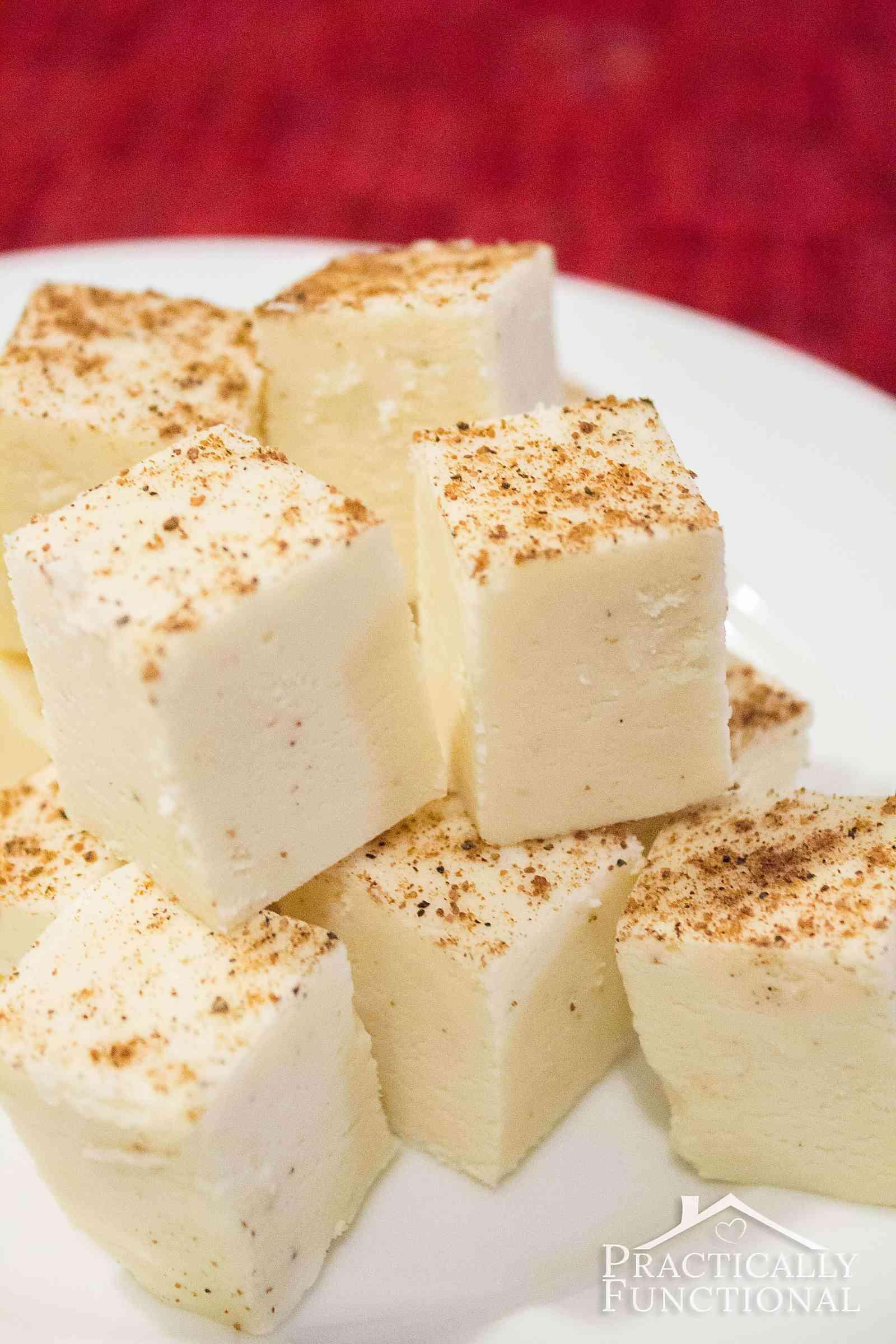 White Chocolate Eggnog Fudge