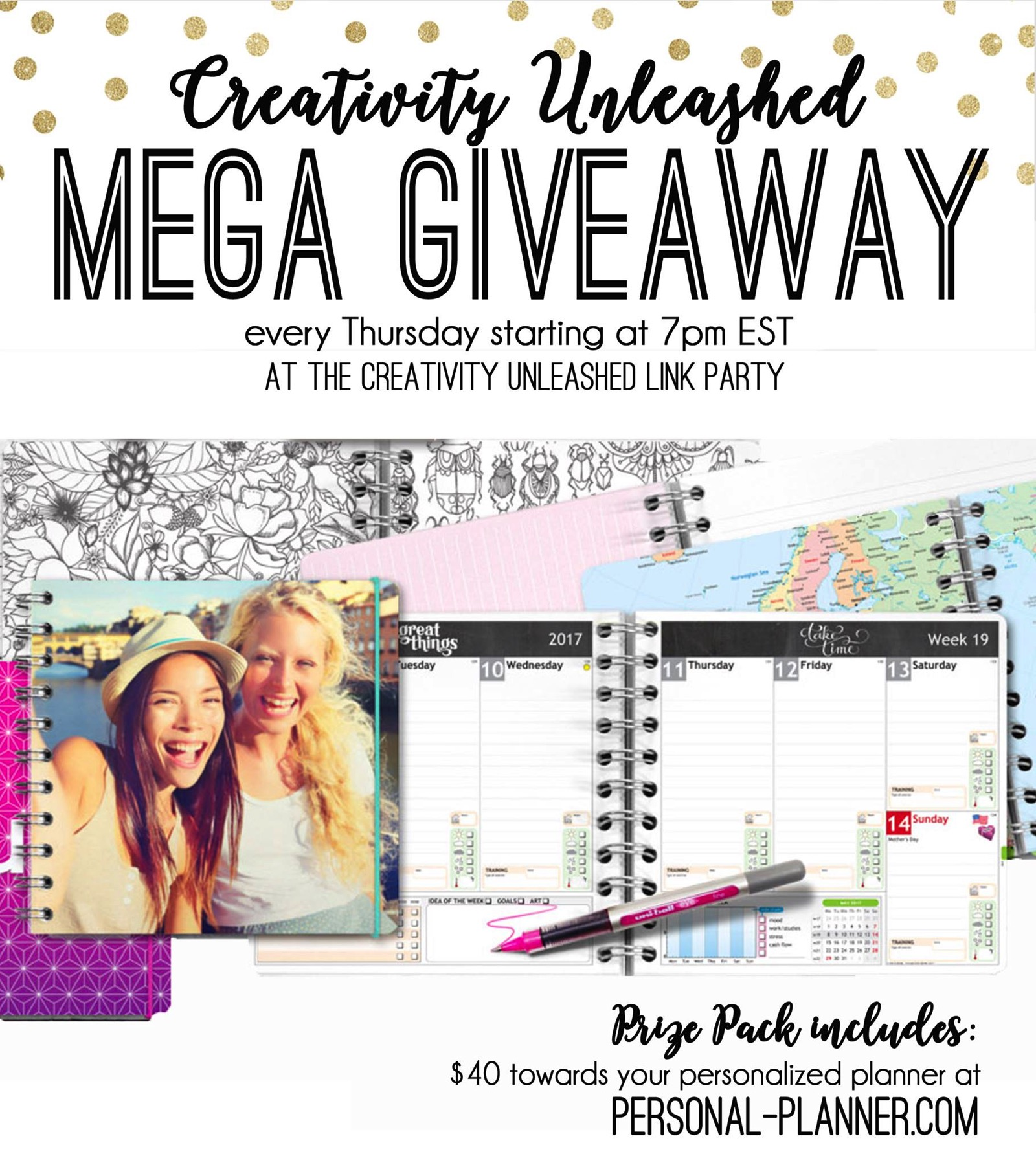 Share your latest projects, browse hundreds of others for inspiration, and enter to win a free personal planner at the Creativity Unleashed party!