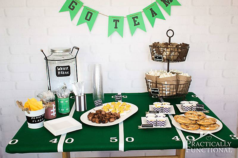 Make a DIY football field tablecloth using green felt and white duct tape! Perfect for a football party!