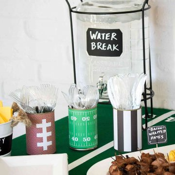 DIY Football Party Utensil Holders